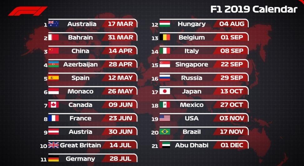 calendar F1