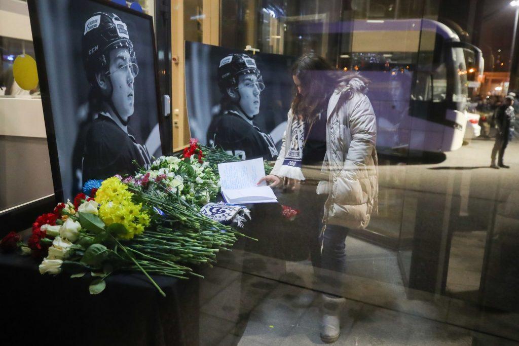 Makeshift memorial to late Junior Hockey League player Timur Faizutdinov in St Petersburg