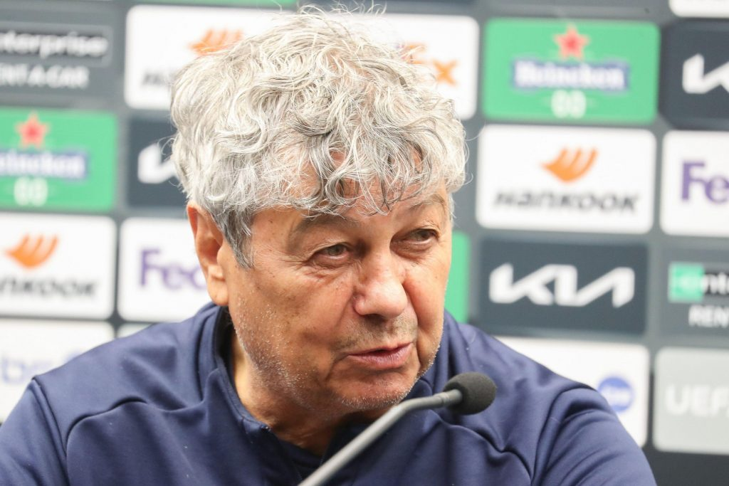 Kyiv's head coach Mircea Lucescu pictured during a press conference of Ukrainian soccer club FC Dynamo Kyiv, Wednesday 24 February 2021 in Brugge. Dyn